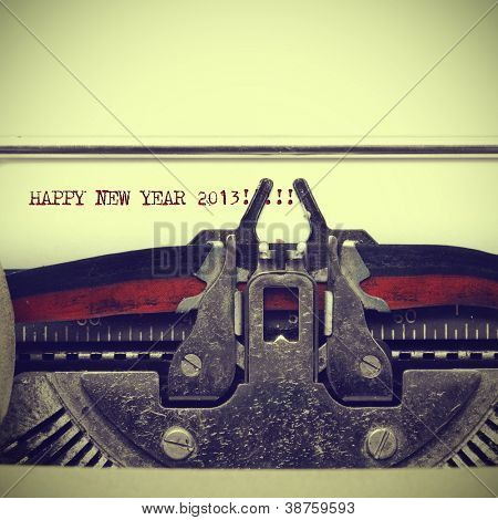 happy new year 2013 written with an old typewriter with a retro effect