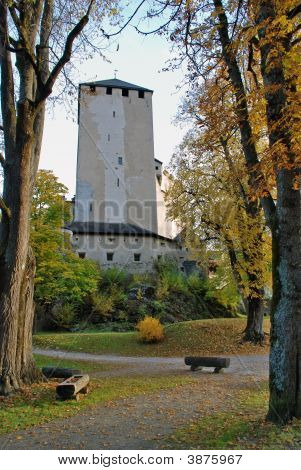 Autumn View Of Gardens And Tower  At Scloss Bruck  Lienz Austria
