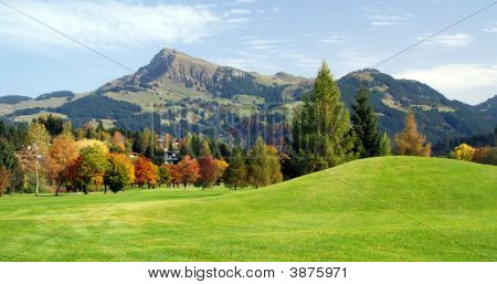 Grassland And Green Mountains At Kitzbuhel  Austria