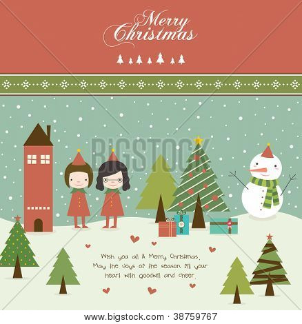 Lovely Girls and Christmas Tree in Retro Style