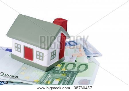 toy house for euro isolated on white