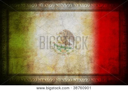 Grunge Mexico flag with frame