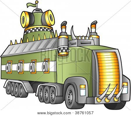 Apocalyptic Giant Truck Vector Illustration
