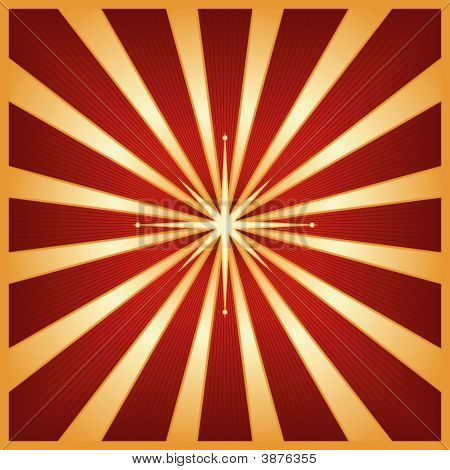 Gold Red Star Burst With Centre Star