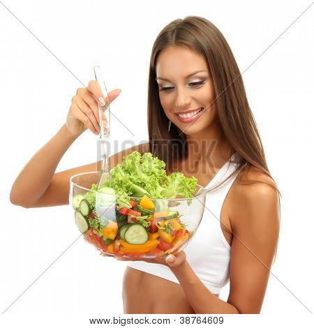 beautiful young woman with salad, isolated on white