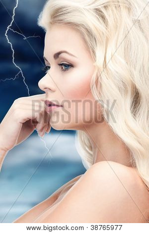 picture of pensive woman with long hair
