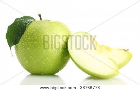 Ripe green apple with leaf and slice, isolated on white