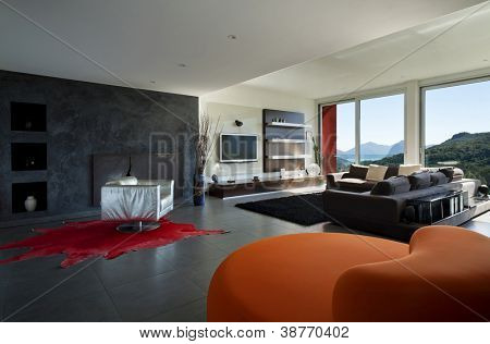 Interior, room with comfortable armchair orange