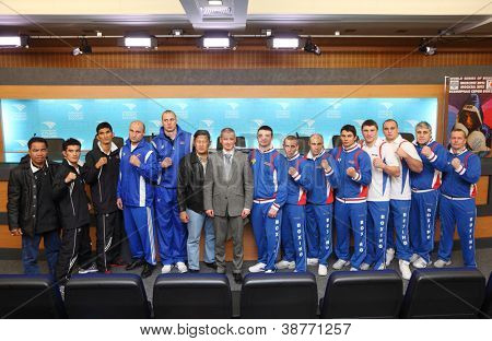 MOSCOW - JAN 12: members of Dynamo Moscow and Bangkok Elephants teams of World Series of Boxing in Press Center RTR, Jan 12, 2012 Moscow, Russia. WSB in Russia this is national project of global scale