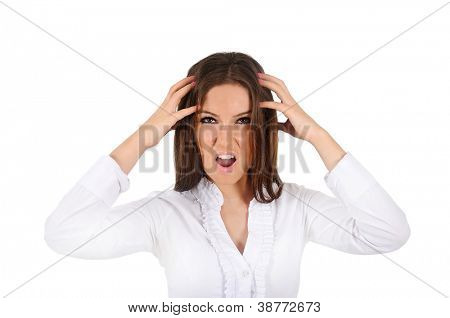 Isolated young business woman screaming