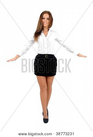 Isolierte young Business Woman walking auf Seil