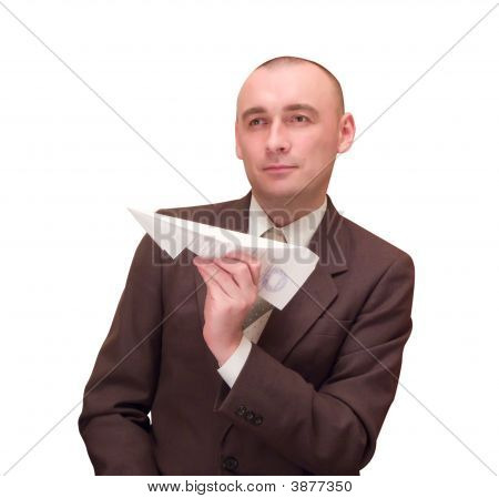 Businessman With Paper Plane.