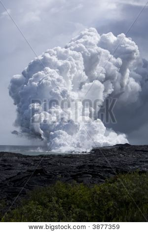 Lava Flow At Ocean