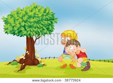 illustration of playing boysn a beautiful nature