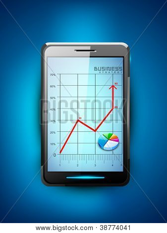 Abstract 3D statistics background, Business concept on a smart mobile screen. EPS 10.