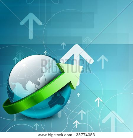 Professional Corporate or Business template for financial presentations showing globe with upside arrow. EPS 10.