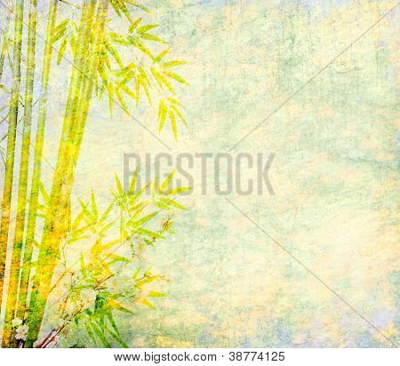 bamboo and plum blossom on antique cracked paper texture