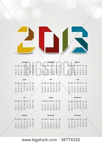 2013 Jahr Kalender. EPS 10.