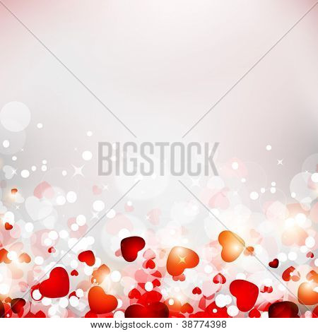 Abstract background with shiny heart shapes. EPS 10, vector illustration, can be use as greeting, gift card, flyer, banner or poster.