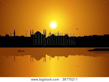 Istanbul and sunset