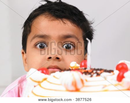 Asian Kid With His Birthday Cake