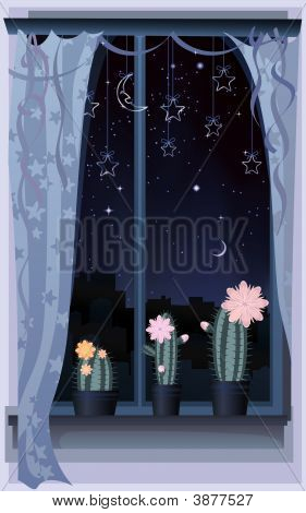 Decorated Cactus Window