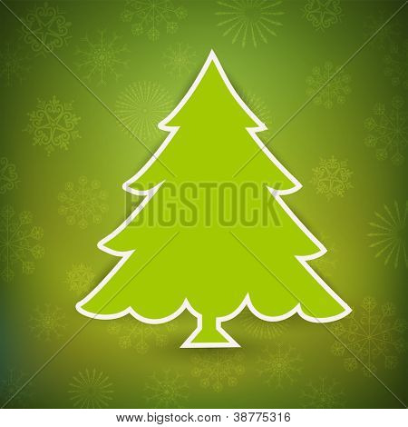 Christmas greeting card, invitation card or gift card with Xmas tree on green snowflake background. EPS 10.