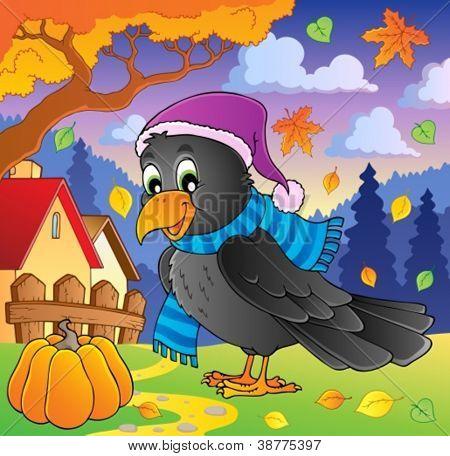 Cartoon raven theme image 2 - vector illustration.