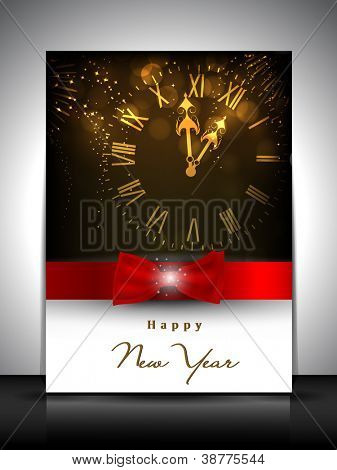 Greeting card or invitation card for new year celebration. EPS 10.