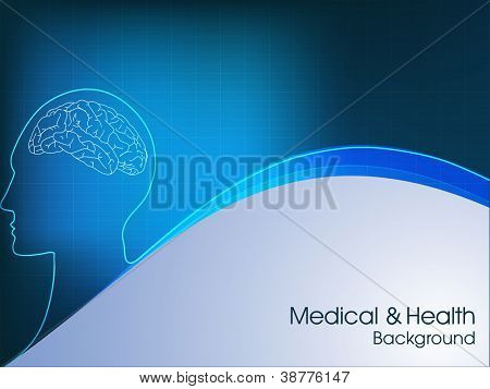 Vector illustration of medical background or template with human brain, molecules in blue.