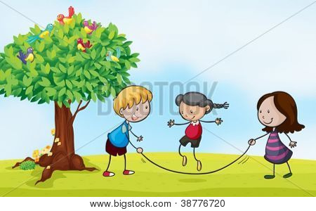 Illustration of a 	park scene with kids skipping