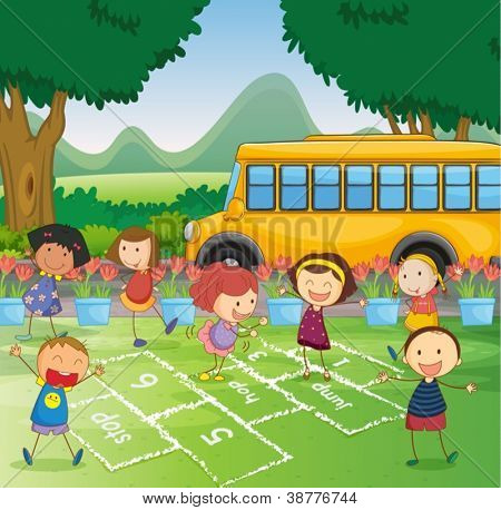 Illustration of a park scene with hopscotch