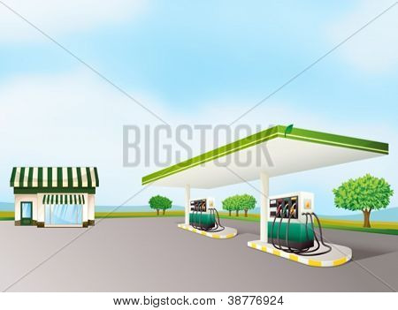 illustration of a house and a gas station in a beautiful nature