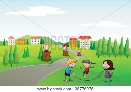 illustration of a kids in a beautiful nature