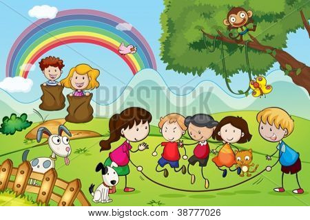 illustration of animals and kids in a beautiful nature