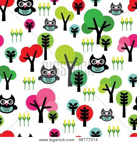 Seamless cute kids retro owl animal tree background pattern in vector