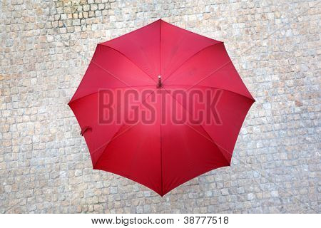 Red umbrella outdoors