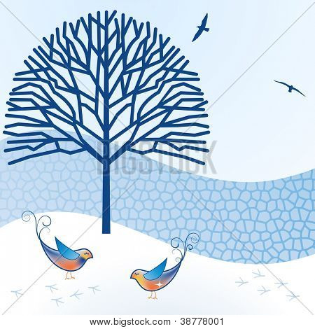 Sweet birds with tree fence and snow - peaceful winter scene