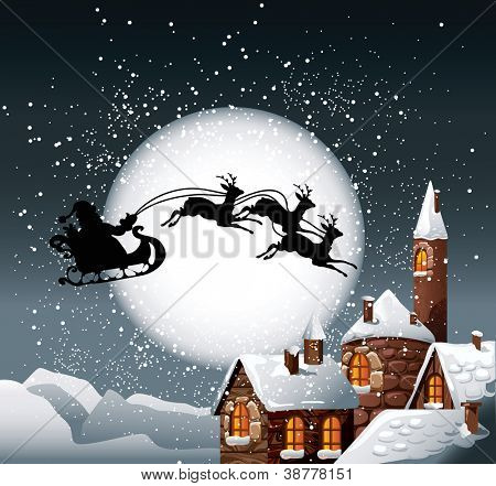 Christmas Illustration of Santa and his reindeer on full moon background with snowy town.