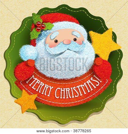 Kerstkaart met Santa Claus en Merry Christmas belettering. Vectorillustratie.