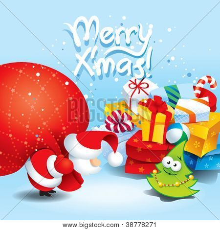 Christmas card with Santa and lots of gifts in a colorful packaging. Vector illustration.