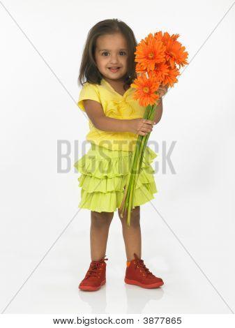 asiatische Mädchen halten Gerbera Blumen
