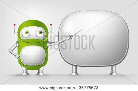 Cartoon Character Cute Robot Isolated on Grey Gradient Background. Showing. Vector EPS 10.