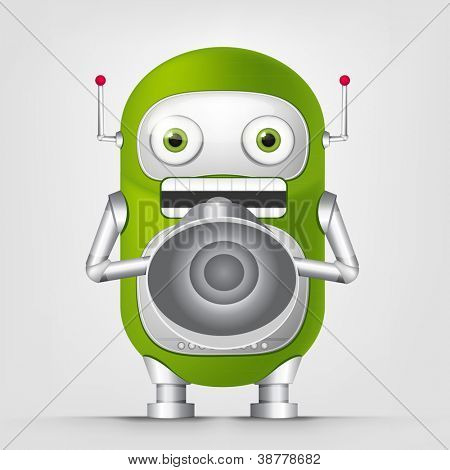 Cartoon Character Cute Robot Isolated on Grey Gradient Background. Speaker. Vector EPS 10.
