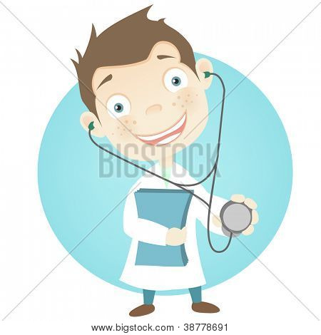 Cartoon Character Cute Teenager Isolated on White Background. Doctor. Vector EPS 10.