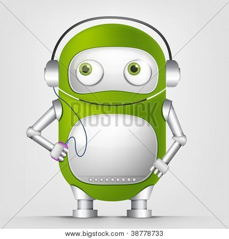 Cartoon Character Cute Robot Isolated on Grey Gradient Background. Listening to Music. Vector EPS 10.