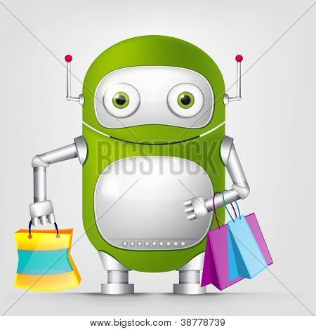 Cartoon Character Cute Robot Isolated on Grey Gradient Background. Shopping. Vector EPS 10.