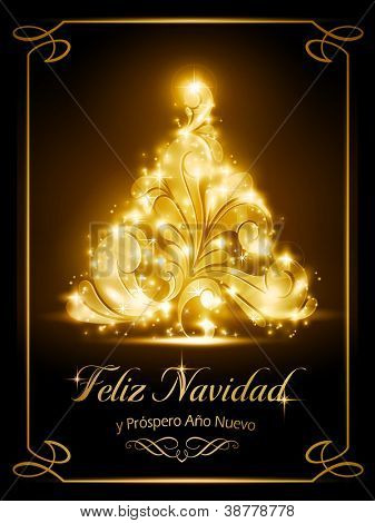 "Warmly sparkling Christmas tree light effects on dark brown background with the text ""Feliz Navidad y Próspero Año Nuevo"", Spanish for ""Merry Christmas and a Happy New Year""."