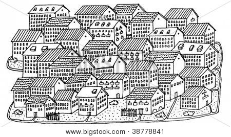 Illustration of a Village Hand Drawn