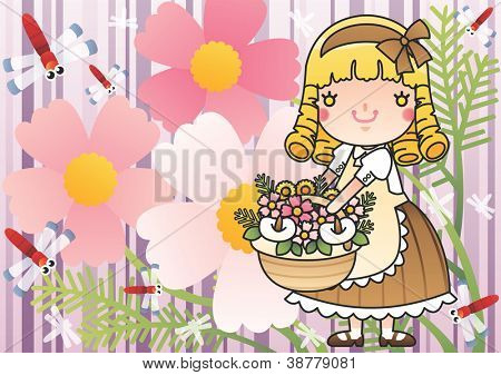Beautiful Autumnal Fairy Tale - going on a picnic with lovely, fair haired young girl on a purple background : vector illustration